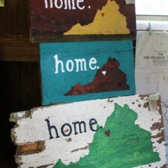 "We've made many of these ""HOME"" signs and they've all sold quickly! So we have some new ones to offer. These come in different colors- still made with old barn wood. They are smaller than the others and less expensive, too. :)"